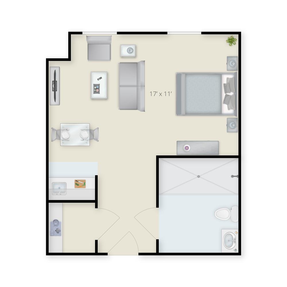 Assisted Living/Memory Care Studio - B