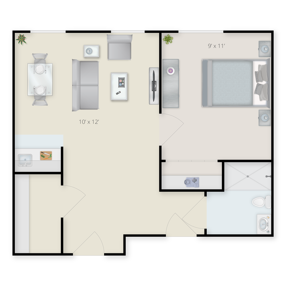 Assisted Living One Bedroom Floor Plan - A